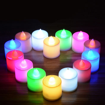 ASLT New Fantastic 24pcs Flameless Battery Operated LED Tea Light Tealights Home Candles Free Shipping