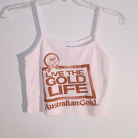 Australian Gold OOAK White Crop Top Tank XS S Boho Hipster Gypsy Acid Grunge Club Kid Festival Wear Beach Babe Shimmer