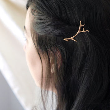 Antler Hair Clips Bobby Pins in Golden Bronze