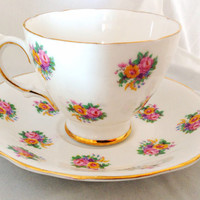 English Fine Bone China Vintage Teacup & Saucer Set - Pink and Yellow Roses - gold fuchsia  green