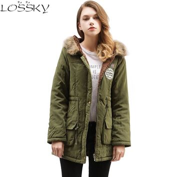 2017 Winter Jacket Women Wadded Jacket Big Yard Female Outerwear Winter Hooded Coat Cotton Padded Fur Collar Parkas Plus Size