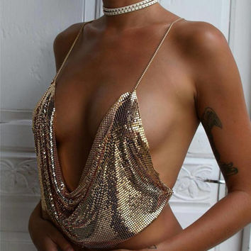 Metal Chain Crop Top - Gold