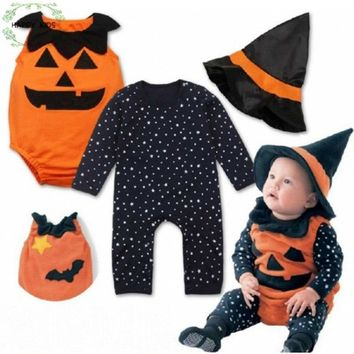 2018 Halloween Clothes for baby with Pumpkin romper + dot long sleeve jumper + hat 3 pcs. set of clothes for toddlers DLY322