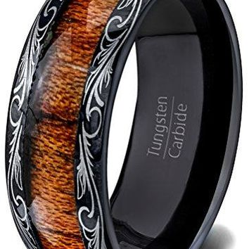 8mm Mens Wedding Band Black Tungsten Ring Wood Inlay Pattern Dome Comfort Fit