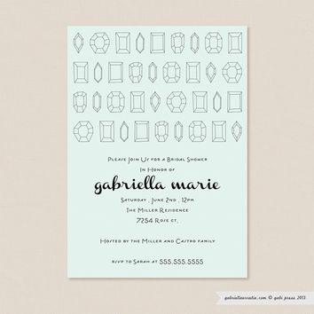 Crystal Clear Black  Printable Invitation 5 x 7 Card by gabipress