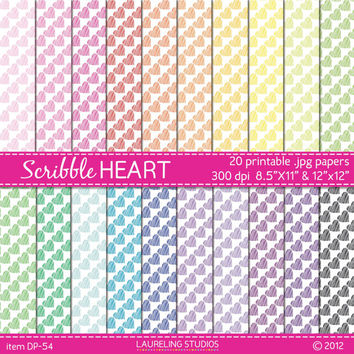 scribble heart digital paper, colorful paper for kids parties Valentines weddings commercial use INSTANT DOWNLOAD DP54