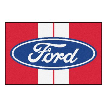 Ford Oval with Stripes Starter Rug 19x30 - Red