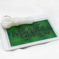 Glazed Ceramic Rolling Tray, Custom Graphic - Tobacco Marijuana Cannabis Weed Bud Blunt Joint Cigarette Roll Light Smoke it Up Green Ganja