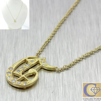 Antique Victorian 14k Gold Diamond G Initial Monogram Pendant Chain Necklace
