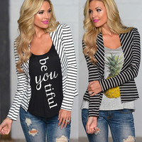Winter Stripes Long Sleeve Knit Tops Blazer Jacket [7322501313]