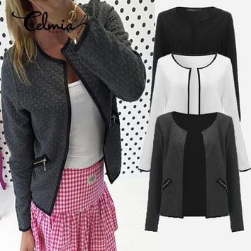 2017 Autumn Winter Plaid Women Coats Short Jackets Casual Slim Suit Blazers Cardigan Feminino White Grey Outwear Blusa Plus Size