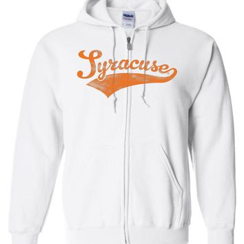 Official NCAA Syracuse Orange SU Otto the Orange DOWN THE FIELD! Women's Baseball Tail Basic Zip Hoodie - cuse1002