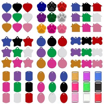 180pcs/lot Custom Personalized  Engraved Pet ID Tag Bone Paw 9 Shapes Identification Dog Cat  Charm Double Sided Tag Mixed Color