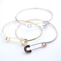 Big safety pin bangle bracelet in 3 colors(snap clasp), B0087S
