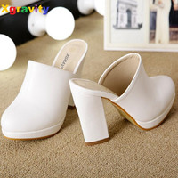 2 Colors Lady Round Toe Lady Platform High Heel White Slippers Fashion Woman Clogs Lady Casual Sandals Black Size 35-40 B026-1