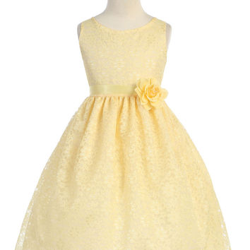 Yellow Solid Lace Flower Girl Dress with Satin Ribbon