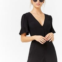 Woven Button-Front Romper