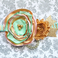 Beautiful Made to Match Mint, Pink, and Gold Satin Couture Headband for Mint/Pink/Gold Tutu Dress First Birthday Baby Girl 6-18 Months Old
