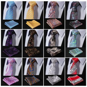 Narrow Men Tie Necktie Pocket Square Set