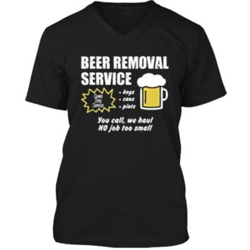 Funny Beer removal service beer drinking t-shirt Mens Printed V-Neck T