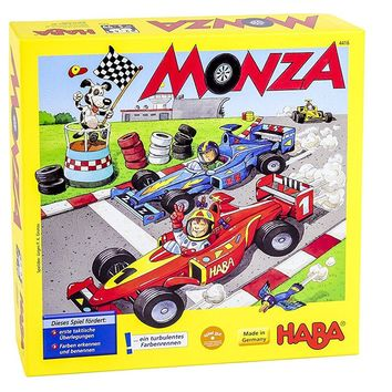 HABA Monza - A Car Racing Beginner's Board Game Encourages Thinking Skills - Ag