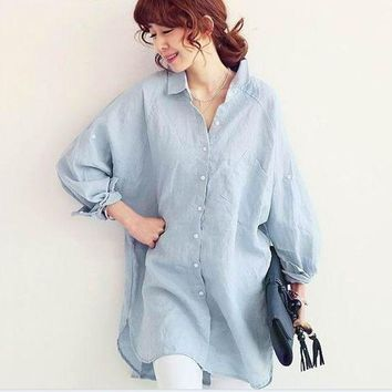ac VLXC Plus Size Women's Fashion Korean Long Sleeve Linen Tops Shirt Womens Blouse [9133914636]