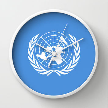 The United Nations Flag - Authentic Version Wall Clock by Bruce Stanfield