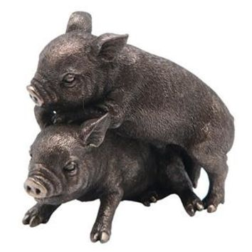 Two Miniature Farm Pigs Playing Together Statue Bronze Finish 5L