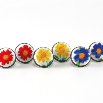 Stud Earrings - Cheerful Flowers - Red Yellow Blue Floral Spring Fabric Buttons Jewelry - Set of 3 Pair of Antique Posts Wedding Bridesmaids