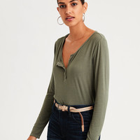 AE Soft & Sexy Ribbed Long Sleeve Henley T-Shirt, Olive