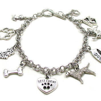 Dog Charm Bracelet, Animal Bracelet, Pet Charm Bracelet, Best Friend Bracelet, Love My Dog Bracelet, Love My Pet, Pet Remembrance Bracelet