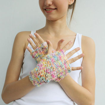 ETSY Free Shipping Colorful  Fingerless Gloves Valentines Day Gift