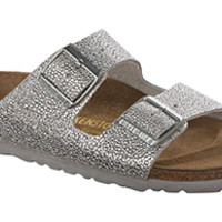 Arizona Soft Footbed Pebbles Metallic Silver Leather Sandals | Birkenstock USA Official Site