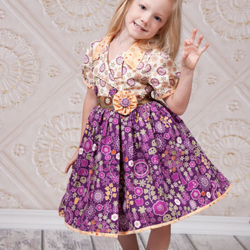 Girls Tea Party Dress - Little Girl Dress - Sizes 2T to 10 Years - Toddler Dress -Toddler Thanksgiving Dress - Birthday Dress - Floral Dress