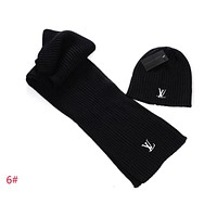 LV Louis Vuitton Trending Women Men Stylish Winter Knit Warmer Hat Cap Scarf Set Two-Piece Black I-AJIN-BCYJSH