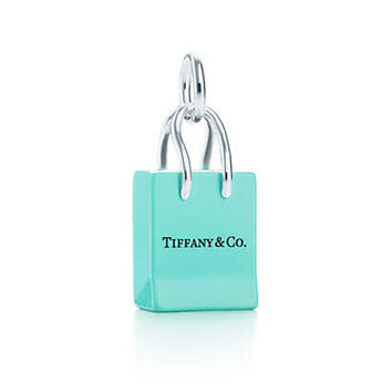 Tiffany & Co. - Tiffany & Co.® Shopping Bag charm with enamel finish in sterling silver.