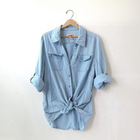 20% OFF SALE / vintage washed out shirt. oversized faded blue shirt. button down shirt. pocket shirt.