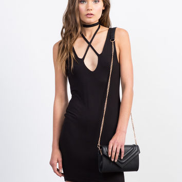 Criss Cross Choker Dress - Large