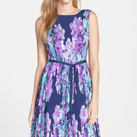 Petite Women's Adrianna Papell Floral Print Pleat Fit & Flare Dress