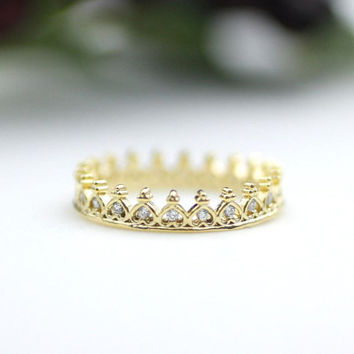 Princess Tiara Ring detailed with CZ in 3 colors, R0134K