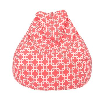 Large Teardrop Gotcha Hatch Print Pattern Bean Bag Coral