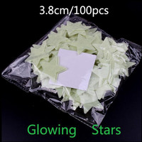 100Pcs/Set Kids Bedroom Beautiful Fluorescent Glow In The Dark Stars Wall Stickers Baby Rooms Sticker Home Decoration SM6
