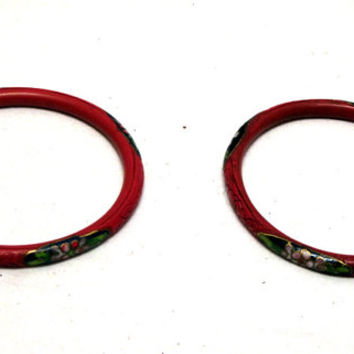 Chinese, Bangle, Bracelet, Cinnabar, Cloisonne, Enameled, Flower, Wrist, Ring, Carved, Red, Metal, Hand, Asian, Shabby, Boho, Hippy, Jewelry