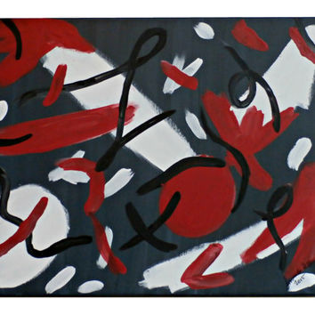 Abstract Canvas Painting 14 x 18 (Red White Black Modern Abstract Artwork)