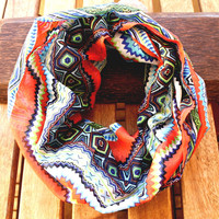 Aztec Tribal Scarf Cotton Infinity Scarf Chevron Multicolor Spring Fashion Women Loop Circle Scarf Chiffon Scar