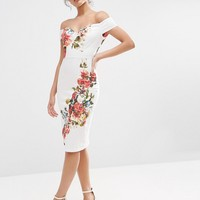 ASOS Bardot Off The Shoulder Hitchcock Midi Pencil Dress In Vintage Flowers at asos.com