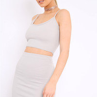 GREY CAMI CROP TOP AND MINI SKIRT CO-ORD - RIELY