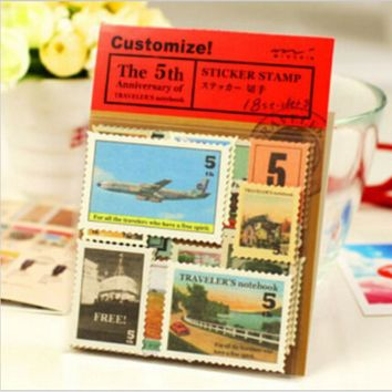 18 pcs/bag DIY Vintage Retro Classic Paper London Travel Stamp Stickers for Decoration Diary Scrapbooking Free shipping 918
