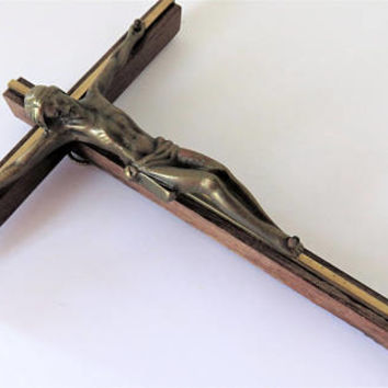 Vintage French, Wall Crucifix, Bronze Corpus
