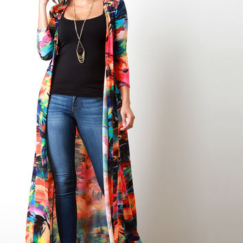 Neon Tropical Longline Open Front Cardigan